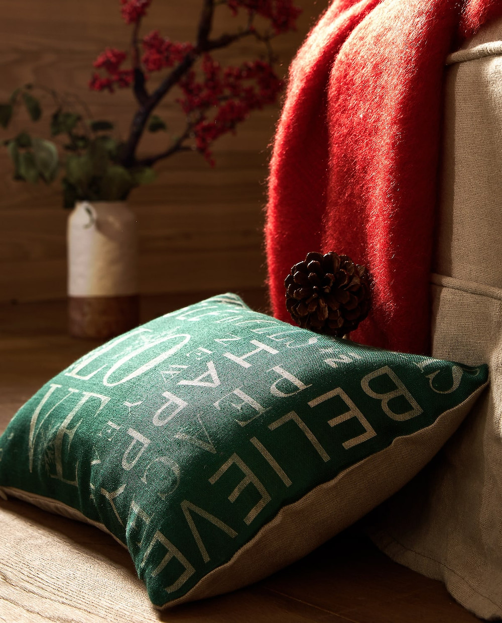 Traditional Christmas Decor (or how to decorate a cabin), Green christmas cushion