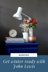 Winter Ready with John Lewis Farrow and Ball Mole's Breath Anglepoise mini in Alpine and copper accessories, Annie Sloan Napoleonic Blue