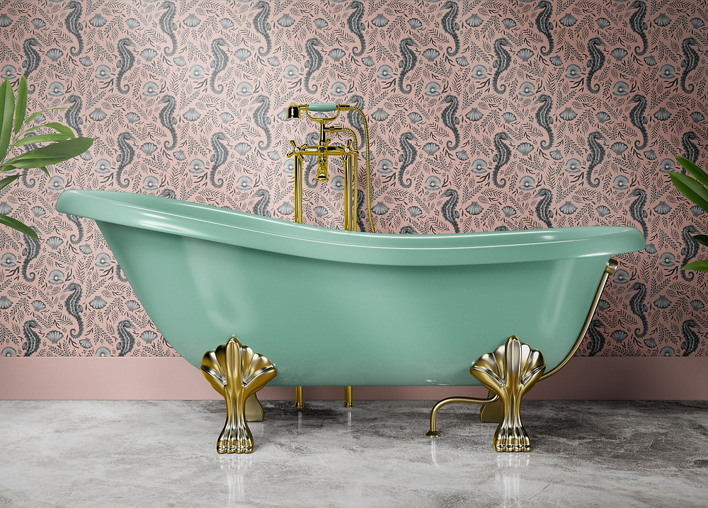 Mint green roll top bathtub with gold claw legs and marble floor. Coral colour Wallpaper on the wall