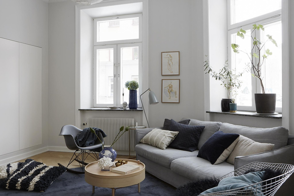 Scandinavian interior design living room with grey sofa and lots of cushions, indigo blue and white walls planters