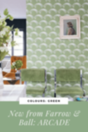 Green wallpaper interiors tips with farrow and Ball Arcade. Green chairs living room