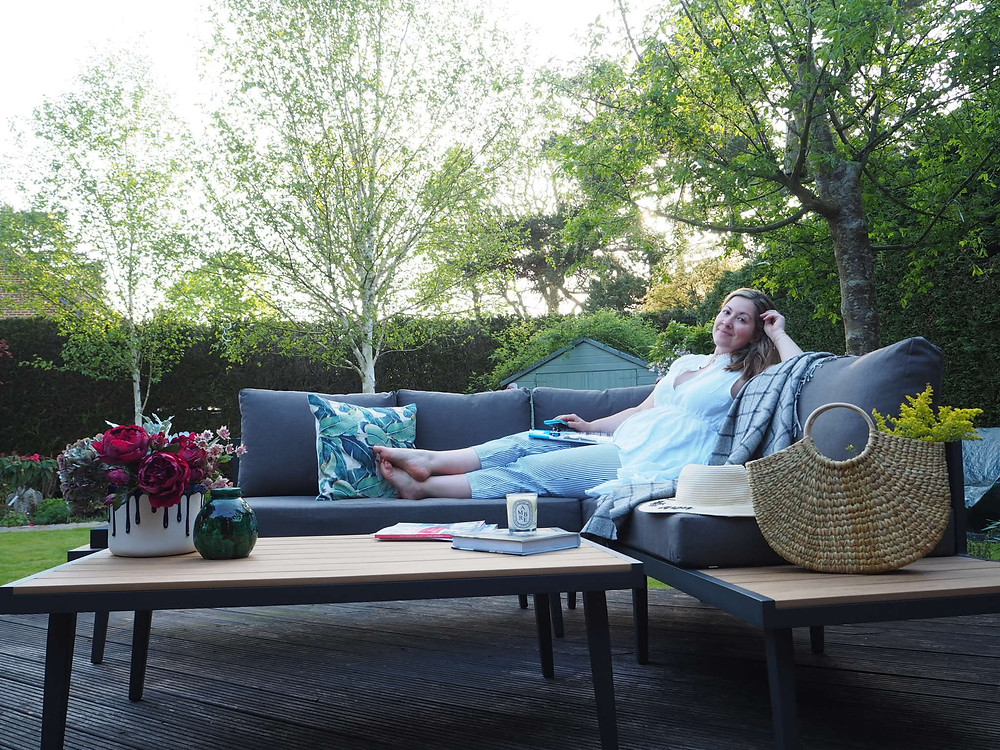 Danetti palermo garden bench and coffee table, Penelope Hope outdoors cushions, coffee table styling