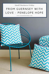 Small Business Friday with Penelope Hope - cushions on a blue chair and on the floor interiors