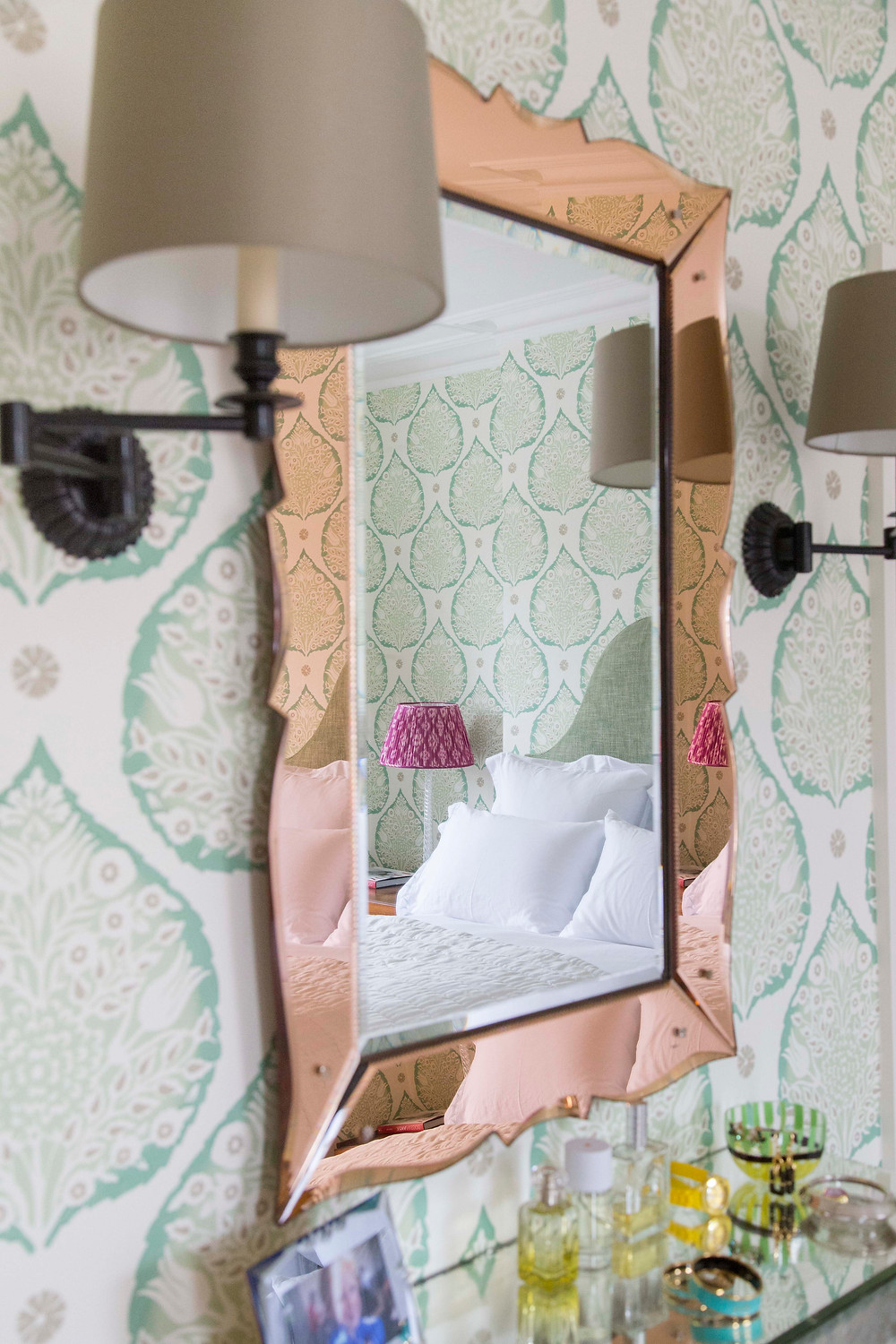 master bedroom with green wallpaper and fuchsia pink lampshade green headboard Sarah Vanrenen