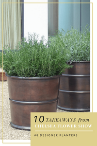 two brass bronze ribbed designer planters with lavender