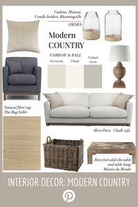 Interior styling tips, modern countryhouse look, natural fibre tug, grey sofa, wood fire basket and wooden lamp