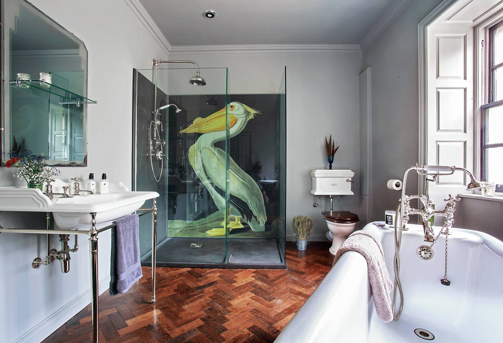 Georgian bathroom with contemporary shower wallpaper feature