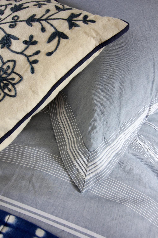 Soak and Sleep chambray pintuck covers