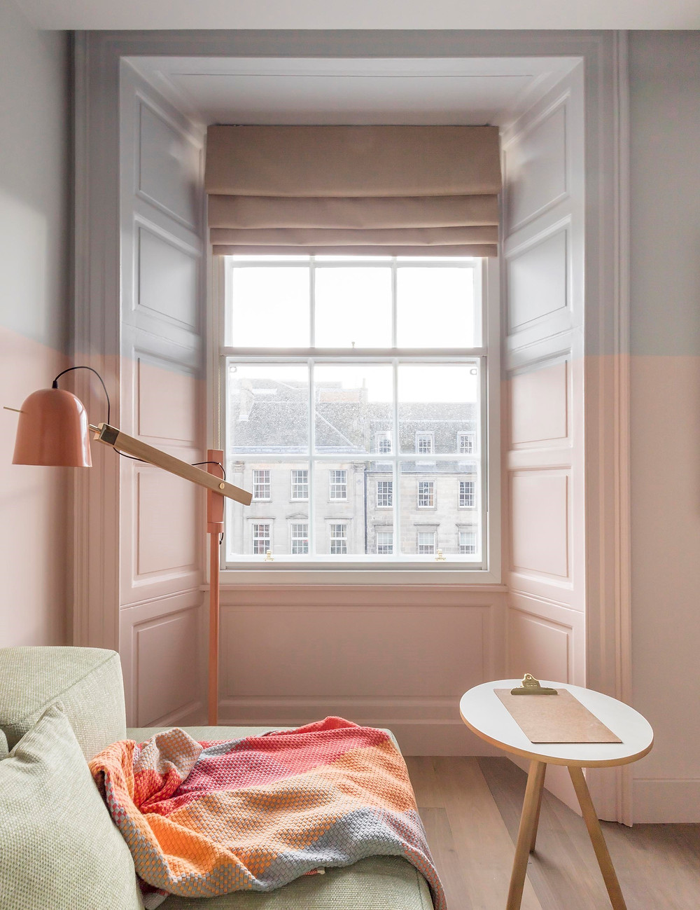 EDEN LOCKE HOTEL interior decor bedroom with pastel colours in pink and blue