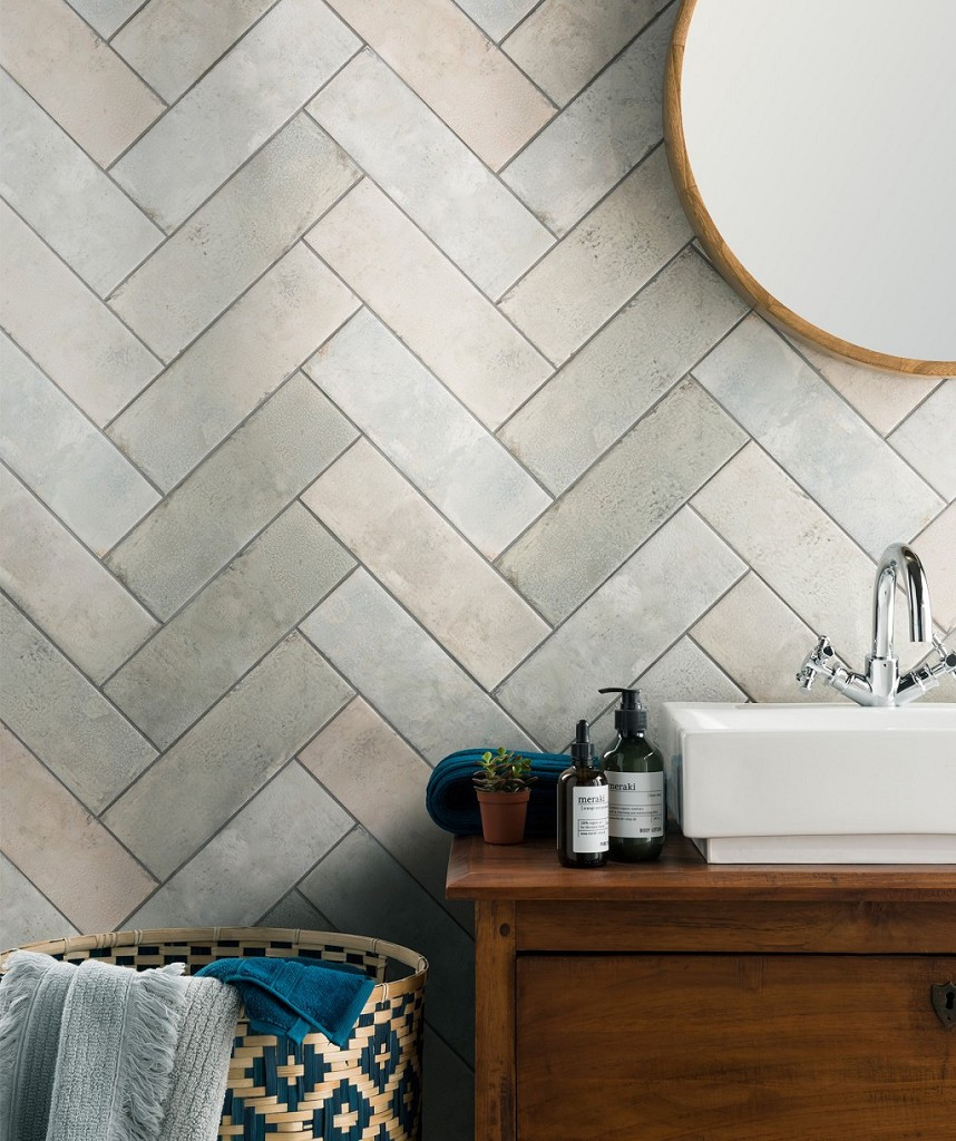 pastel wall tiles in herringbone pattern