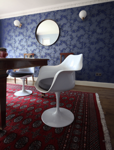 Camelia wallpaper Little Greene, tulip chair, Flos wall light, round mirror, dining room, table setting