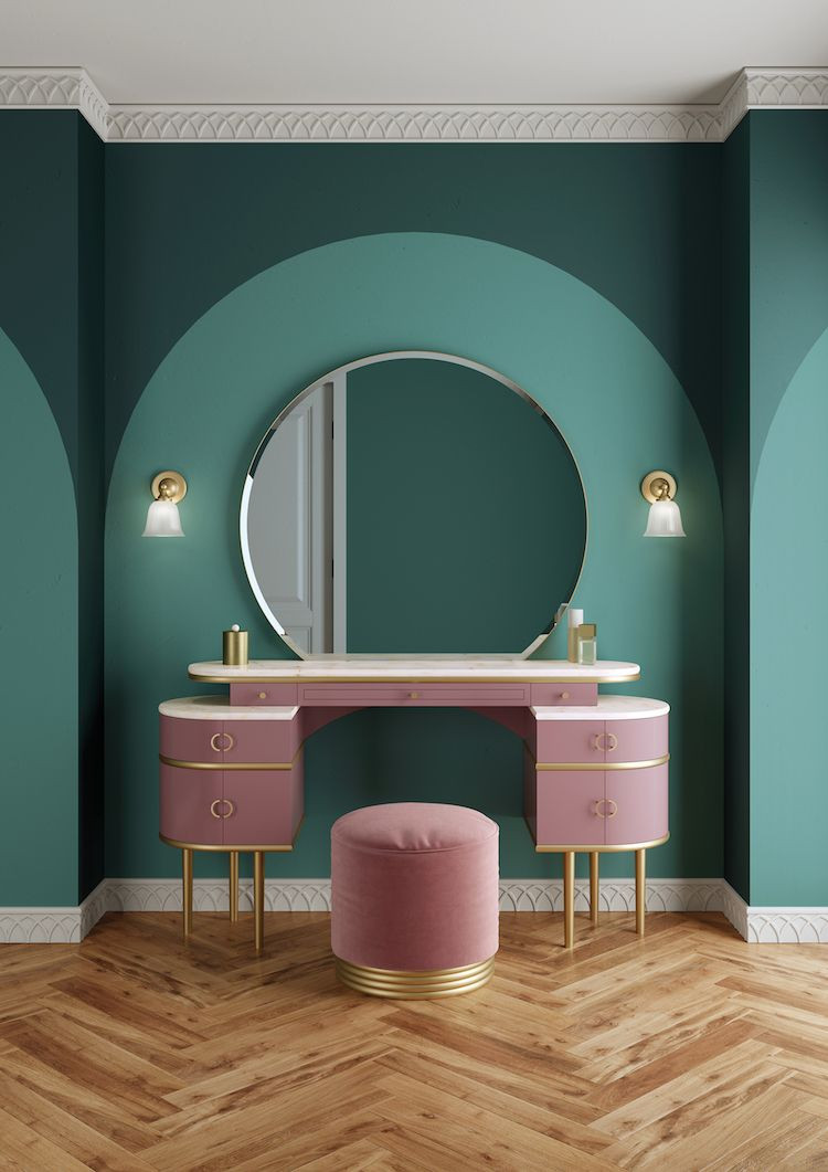 Creative ways to use paint around your home | Painted arch effect behind a vanity unit | Seasons in Colour Interiors Blog