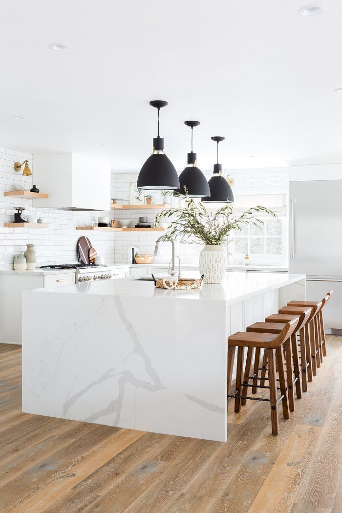 20 White Kitchen Design Ideas white cabinets in kitchen black pendants over the island