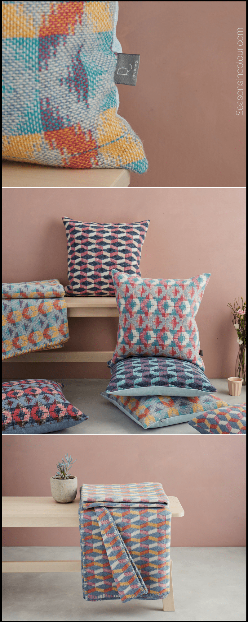 cushions and throws in colourful geometric patterns by Rowenna Mason. Interior decor ideas