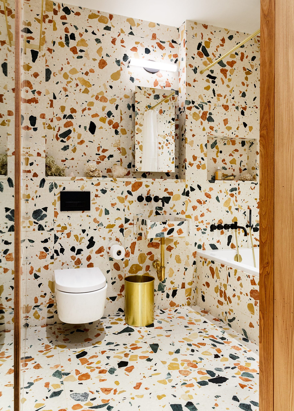 Terrazzo bathrooms in a New York residence, 2015, designed byRP Miller, product used: Marmoreal White tiles