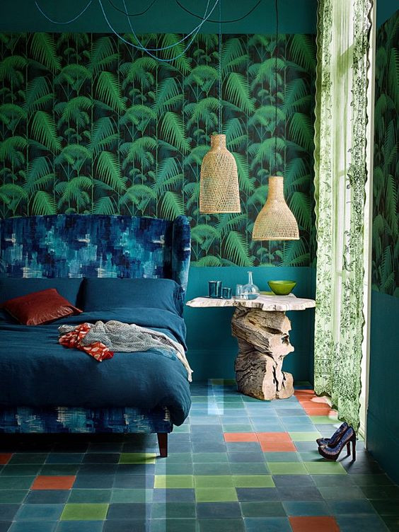 Cole and Son wallpaper green bedroom luxury blue velvet bed geometric