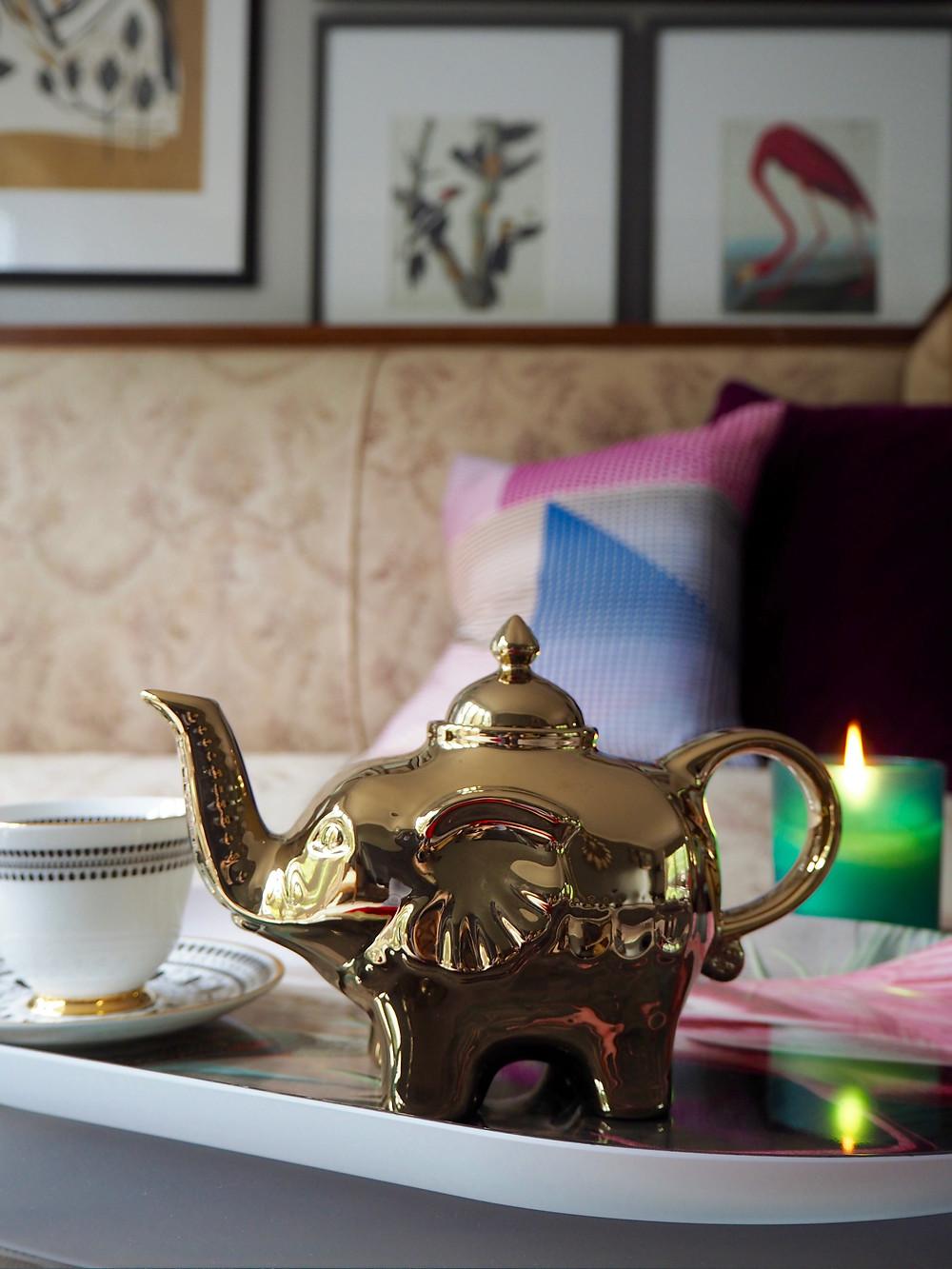 Gold elephant teapot John Lewis Collector edit, Audubon birds of aMERICA