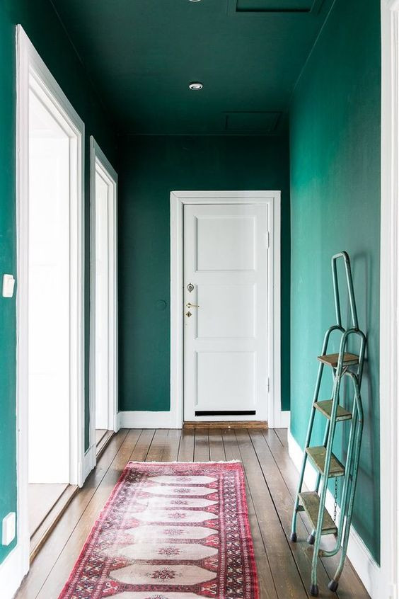 farrow and ball Arsenic green walls green and pink