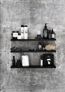 Black String Pocket shelving frame with bathroom accessories