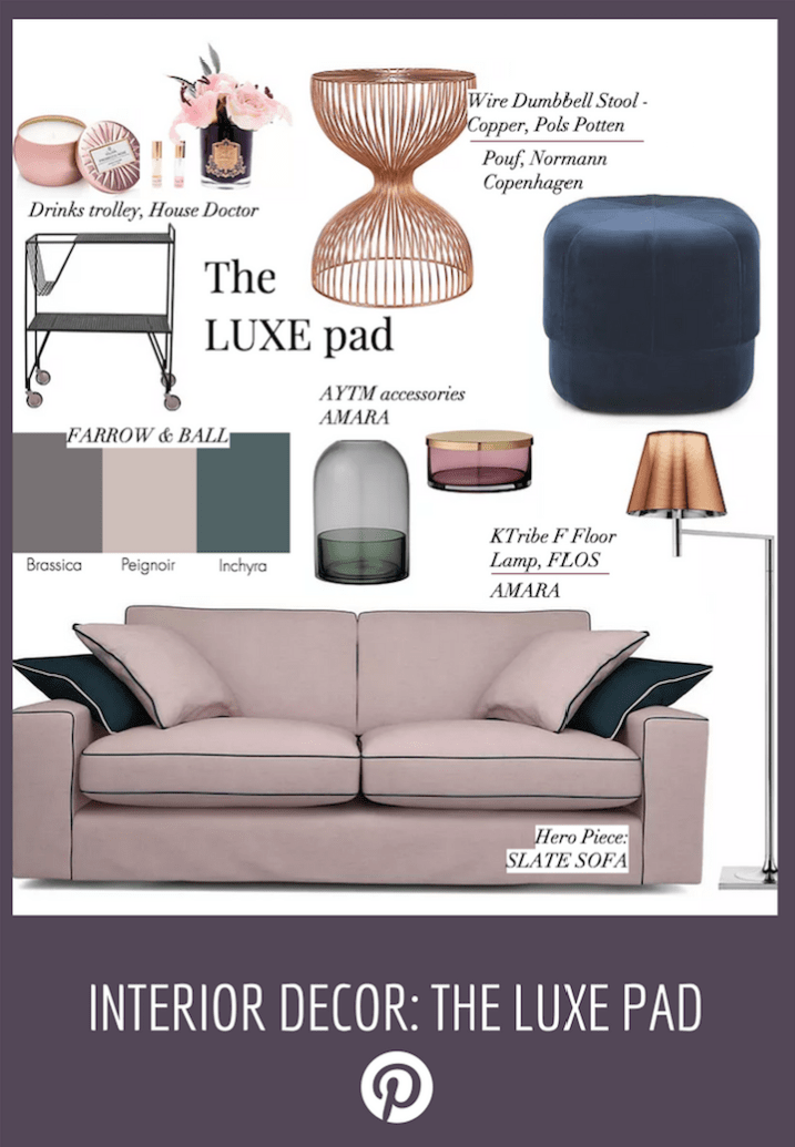 Luxury  interiors idea and moodboard, pink sofa with blue piping and copper accessories and side table, expensive style
