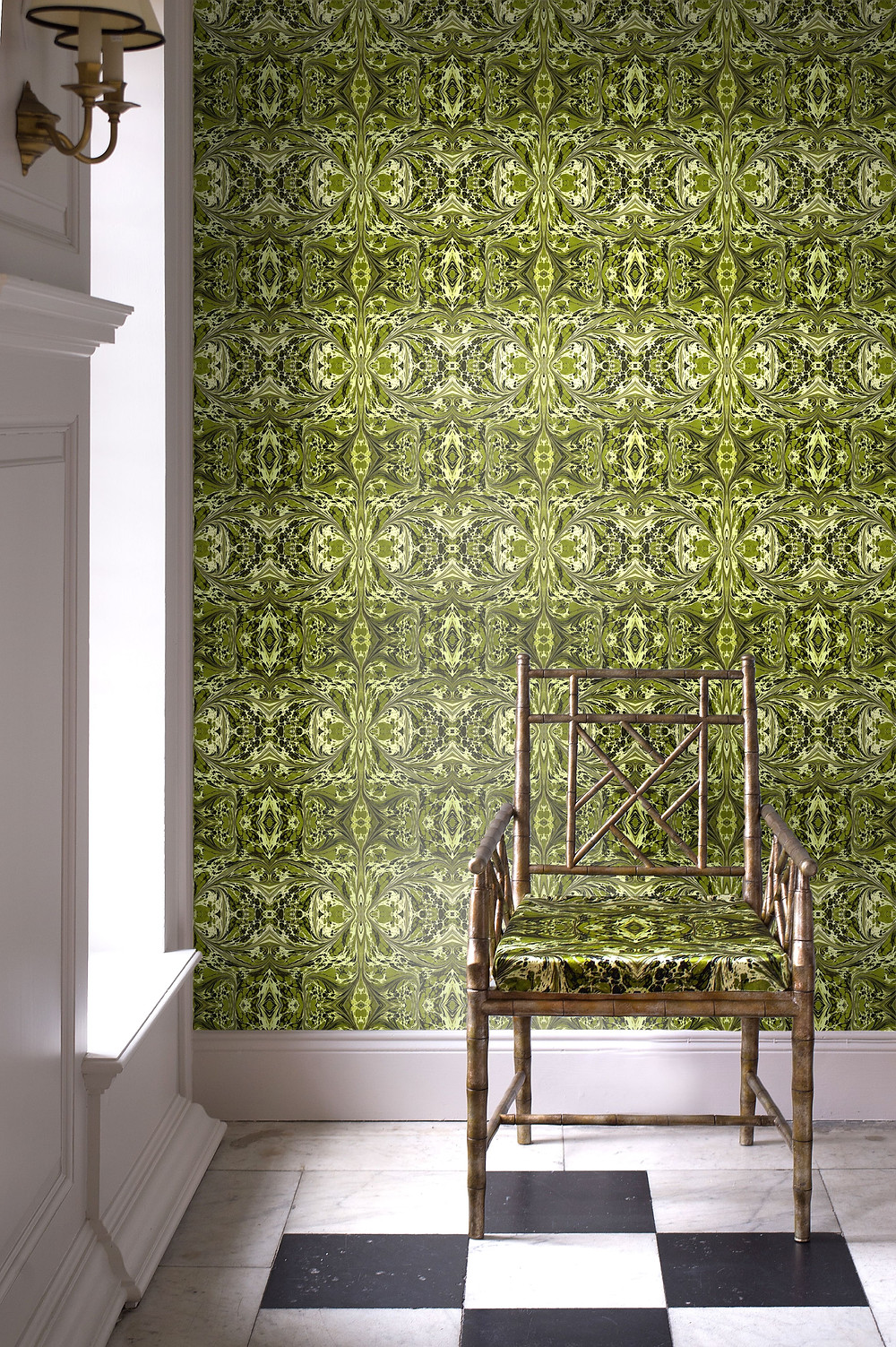 khaki fantasy green wallpaper and fabric by Susi Bellamy