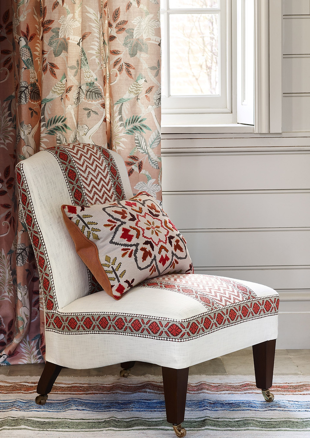 Chair covered in Chari Stripe, curtains in Indira - Jane Churchill spring summer 2018