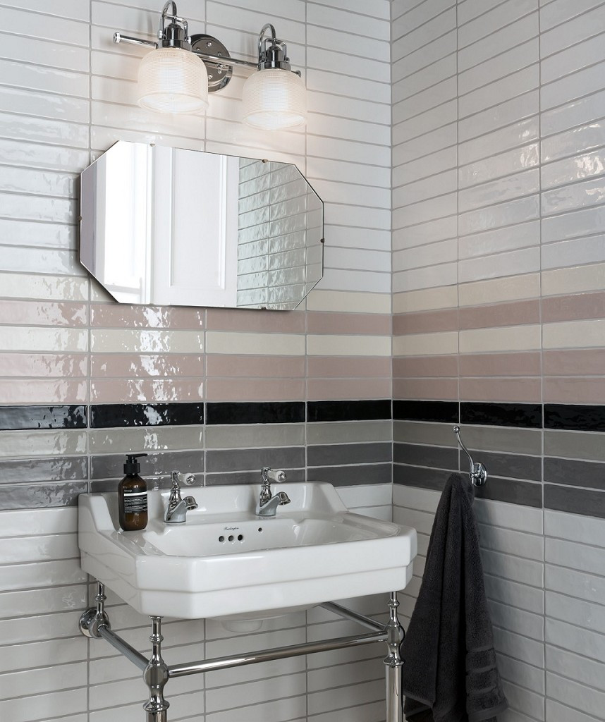 long rectangular pink gloss wall tiles in eclectic bathroom decor