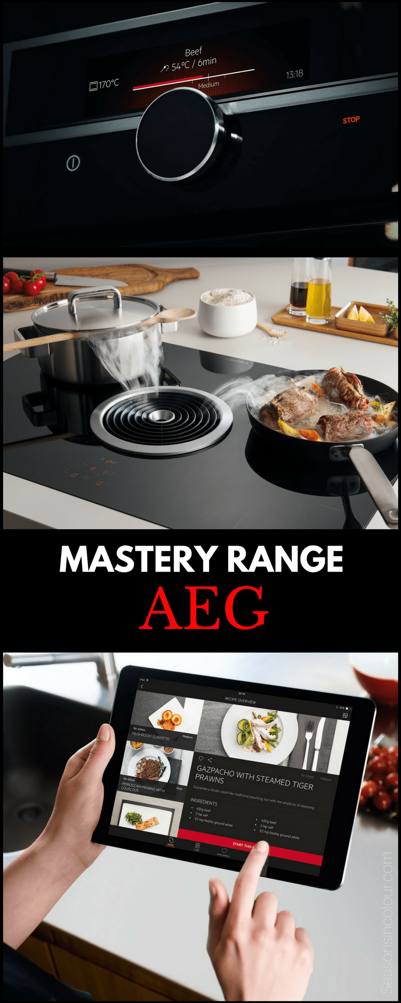 the AEG Mastery Range in kitchens, with extractor fan on the induction hob.