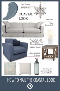 Ideas and tips, coastal look moodboard with grey sofa loose covers nautical theme, wood side table and ceramic lamp, star pendant and denim drift paint