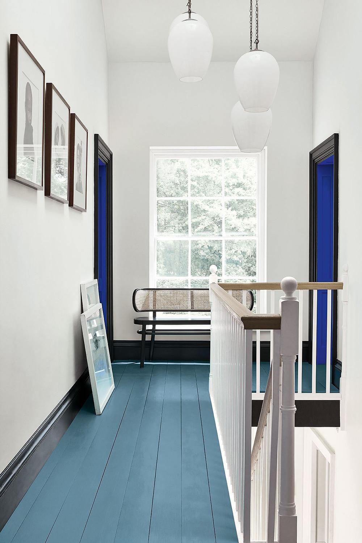 Walls: Shallows 223 Trim: Jack Black 119 Door Inset: Smalt 255 Floor: Air Force Blue 260