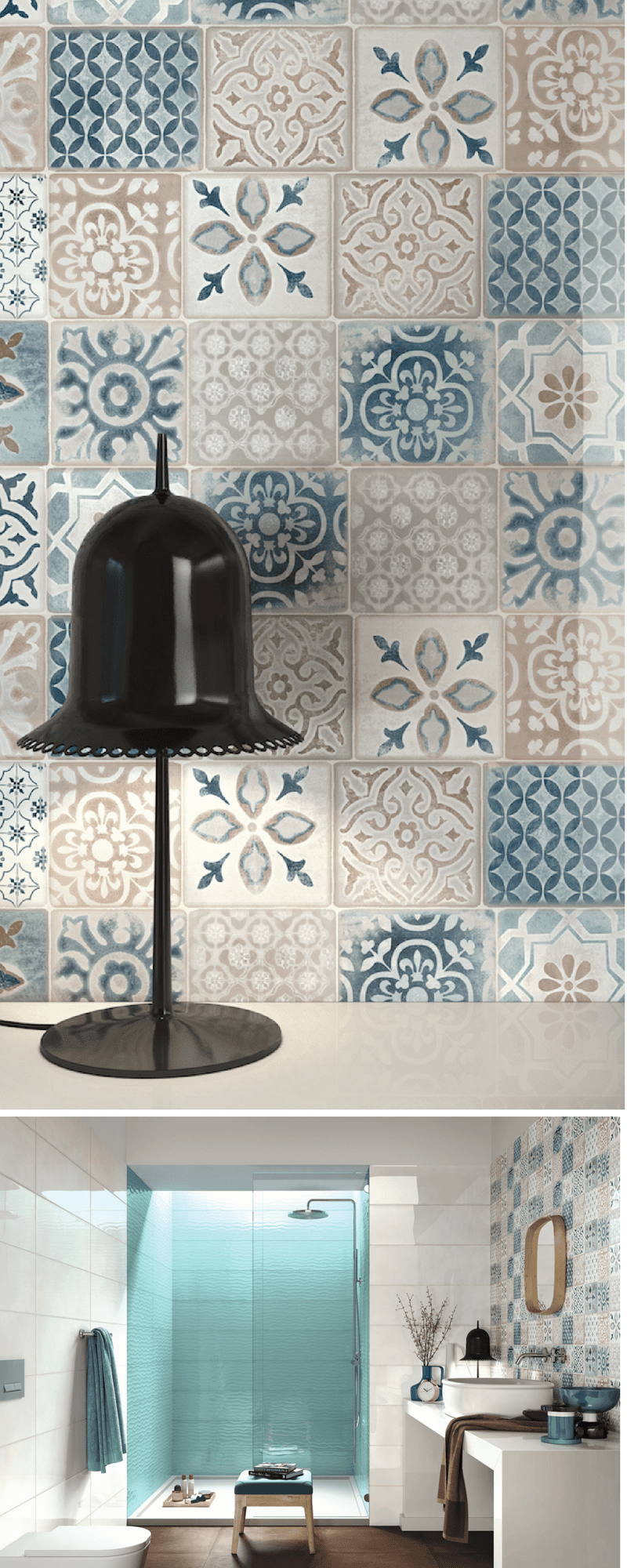 Mosaic style mediterranean tiles, moroccan tiles in the bathroom and kitchen walls