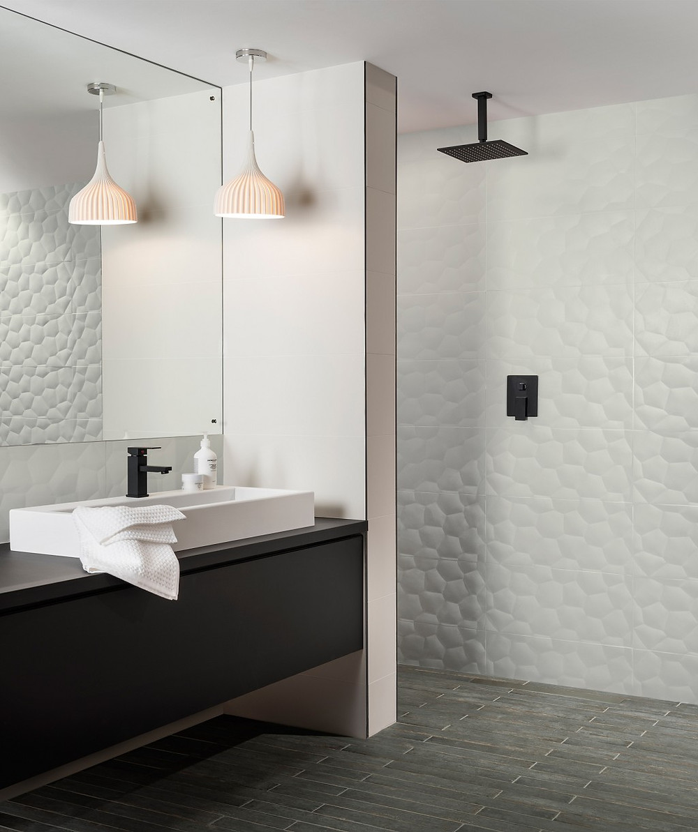 3D effect off white bathroom wall tiles