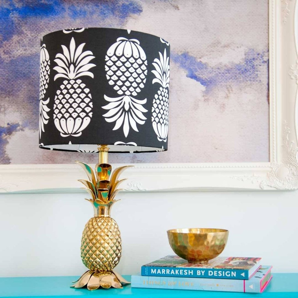 Pineapple drum lampshade Pina Colada in Mono Black and White on a gold pineapple lamp base