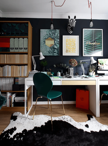 blogger office makeover with green and brass chair and farrow and ball railings on the wall, plus the IKEA billy desk and bookcase