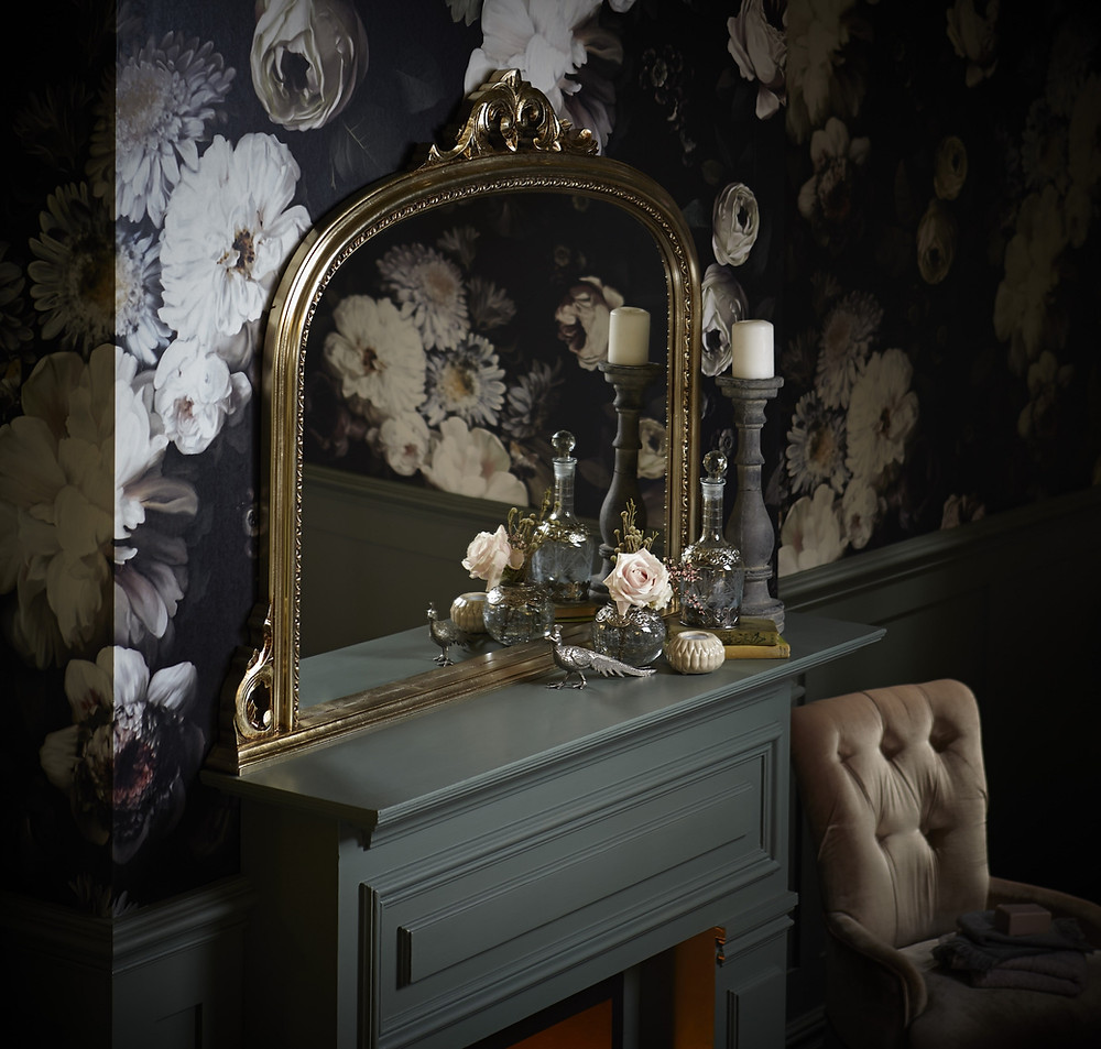 This is the Archway Mirror from Heritage Bathrooms. Wallpaper: Ellie Cashman