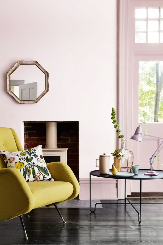 Living room with Little Greene Dorchester Pink Mid 286, Dorchester Pink 213 and armchair in ochre