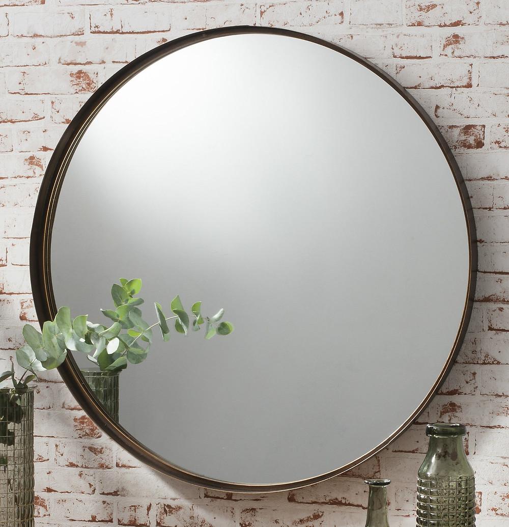 Plain Round mirror bronze