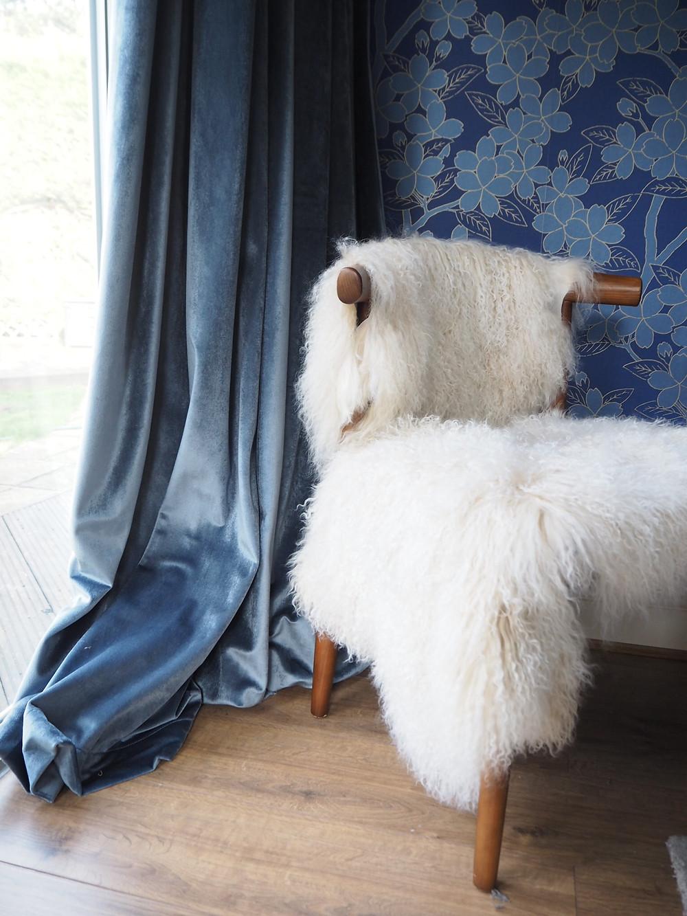 BLUE VELVET CURTAINS MISTY BLUE CURTAINS2GO sheepskin chair