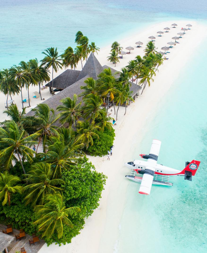 PLANE NEXT TO AN IDYLLIC ISLAND