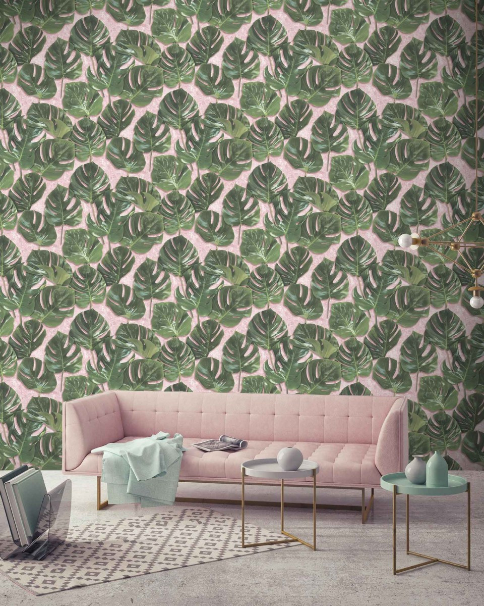 Woodchip and Magnolia botanical wallpaper