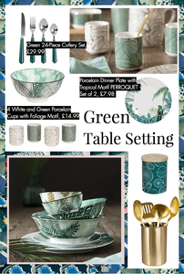 moodboard for green interiors from maison du Monde with botanical plates and green cutlery