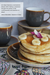 Art Glaze is a contemporary and minimalistic new luxury dinner service from Royal Crown Derby. How to style your table. Pancakes dripping honey