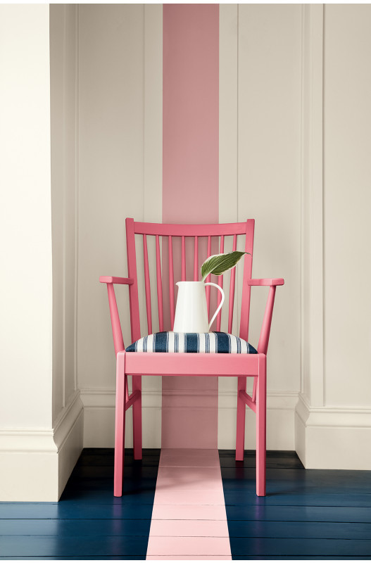 Creative ways to use paint around your home | Painted stripe on floor in pink colour | Seasons in Colour Interiors Blog