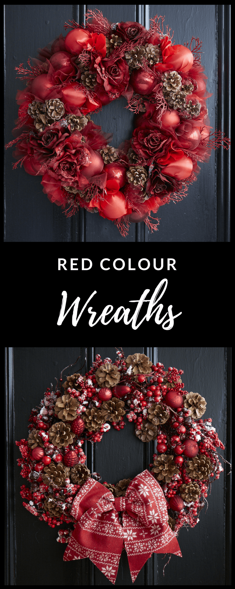 Christmas wreaths in red from Jane Packer