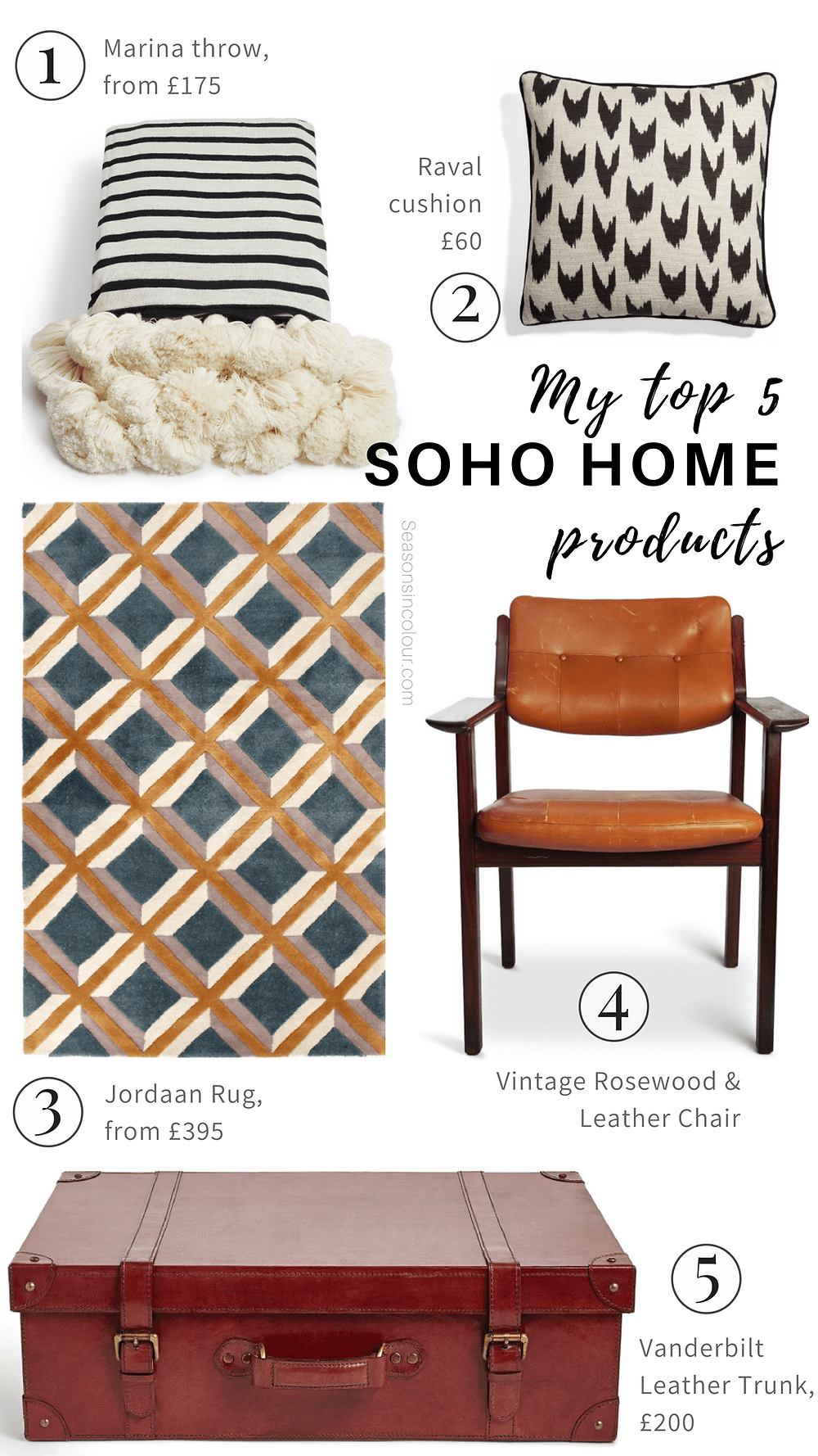 OHO HOME, you can literally create a look that has the 'As seen in Soho House' signature. Here are 5 of my favourite products from their current collection.  pom pom blanket leather vintage chair, geometric rug