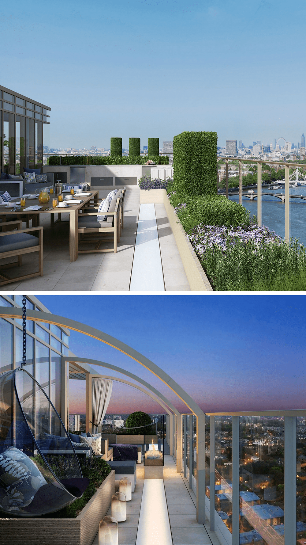 Top 10 Garden Designers in and around London, garden design, rooftop, terrace, formal gardens and lighting. Rooftop terrace with buxus plants, views of London and night lights