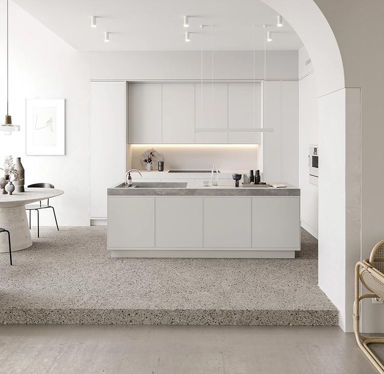 all white contemporary kitchen visualisation