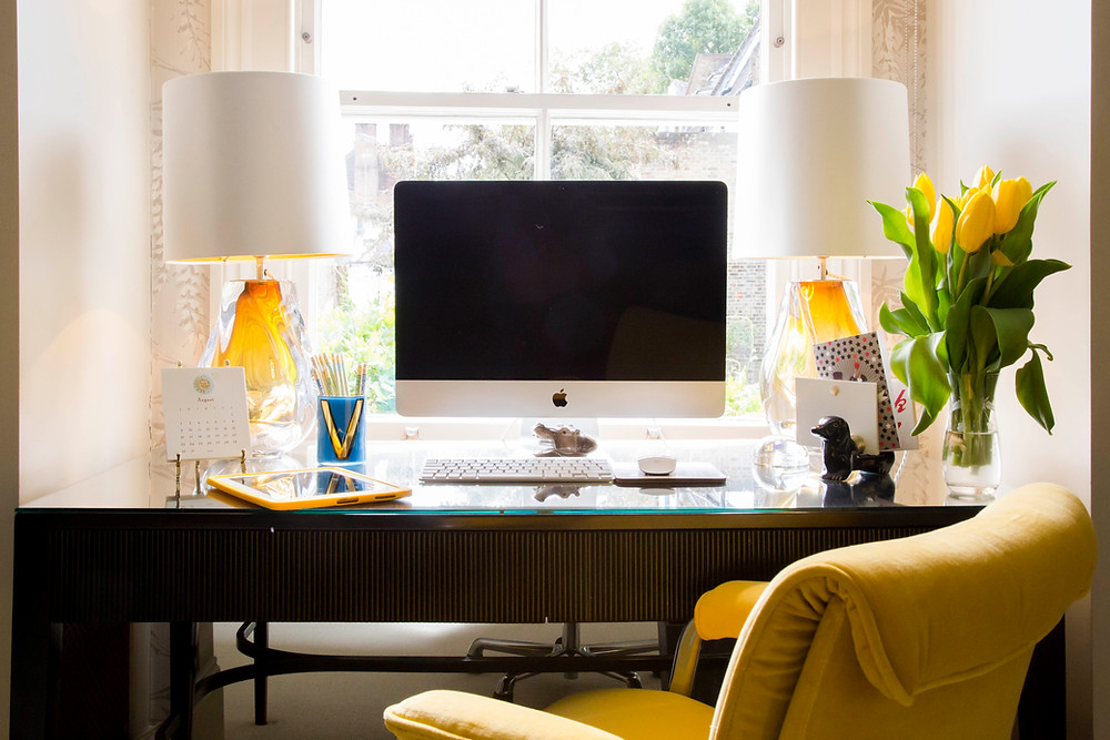 desk workspace with yellow glass table lamps by Sarah Vanrenen