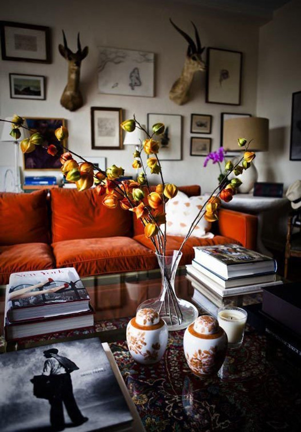 If Your Decor Is A Little Into The 70s, Not To Worry, We Still Love It. And  The Colour Is Perfect For Autumn, Complete With Seasonal Flowers And Leaves.