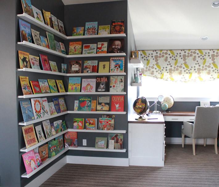 corner bookcase with picture rails
